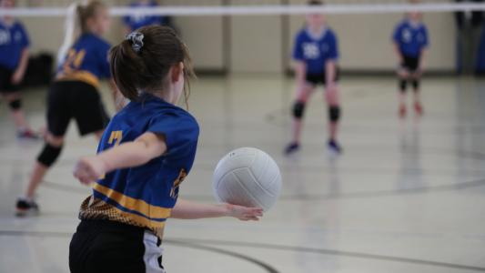 photo of the back of a girl about to serve a volleyball